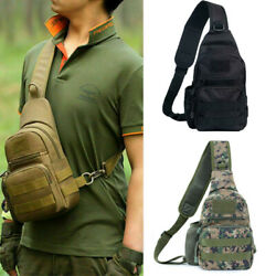 Men#x27;s Tactical Sling Bag Military Chest Shoulder Molle Small Daypack Backpack $13.98