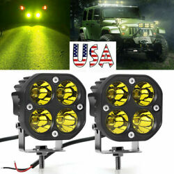 2x 3inch 40w Led Work Light Bar Yellow Spot Pods Driving Offroad Fog 4wd Suv