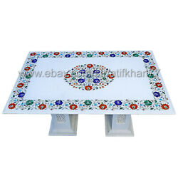White Marble Inlay Coffee Table Semiprecious Stone Dining Center Table Garden
