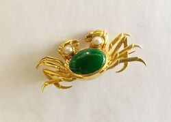 Antique Estate 18k Crab Pin With Jade And Pearls