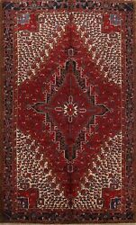 Antique Traditional Geometric Area Rug Hand-knotted Red Oriental Carpet 8x11