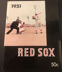 1951 Boston Red Sox Yearbook Ted Williams Nr Mt Fenway Park Vintage/1st Issue