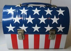 Alladin American Flag Stars Stripes Metal Flip Top Vintage Lunchbox And Thermos