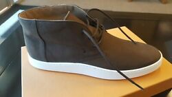 Tod's Mens Casual Shoes W/ Box Sz10.5 Dark Brown Suede Ankle Boots Lace Up
