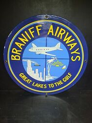 """Vintage Braniff Airlines Porcelain Sign 11 3/4"""" Great Lakes To The Gulf Airlines"""
