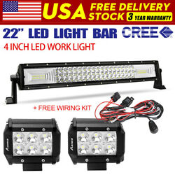 22inch 22 120w Led Light Bar Spot Flood Combo Offroad + 4 Fog Pods Lamp +wire
