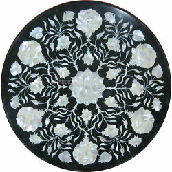 36 Marble Coffee Side Table Top Sea Shell Flower Work Inlay Patio Decor Gift