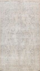 Muted Semi Antique Traditional Distressed Area Rug Evenly Low Pile Handmade 9x13