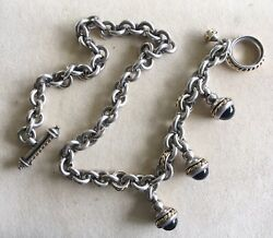 Vintage Estate Sterling/18k Signed Wisor Necklace With Charms/drops