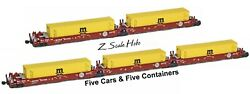 Azl 906509 Z Maxi-i Bnsf Articulated Doublestack 5-car Set 237438 Msc Containers