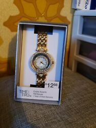 Time And Tru Watch Dial Half Bangle Floating Crystals Accents Hearts NEW Gold $4.95