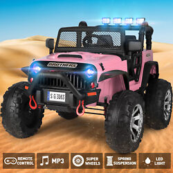 Pink Electric 12v Battery Kids Ride On Truck Car Jeep Toys Mp3 Led W/remote Girl