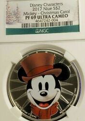 Disney Characters 2017 Niue Silver 2 Mickey Mouse A Christmas Carol .999 Silver