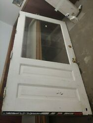 Large Antique Solid Wood Door From Commercial Business 42-1/4 Wide X 81-3/4 T