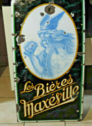 Rare Antique Plate Enamelled All Beer Maxandeacuteville Gallic Without Catering