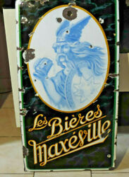 Rare Antique Plate Enamelled All Beer Maxéville Gallic Without Catering