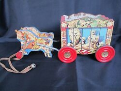 Vintage 1957 Gong Bell Wood Horses And Circus Wagon Pull Toy W/ Metal Gong Wheels
