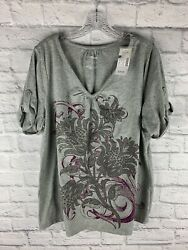 New w tags Lane Bryant relaxed fit gray top shirt size women#x27;s 14 16 W $19.99