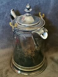 Vintage Reed And Barton Ice Water Pitcher Silver Plate Antique Patina Wheavy Liner