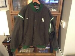 Vtg Michigan State Spartans Nike Snap Up Letterman Style Jacket Sz Xxl - Cool