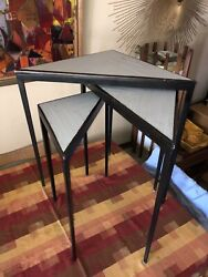 Vintage Mid Century Modern Nesting Tables Stacking Metal Wood Rattan Triangle