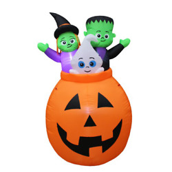 Pumpkin Basket With Baby Ghost, Witch And Monster Yard Halloween Inflatable
