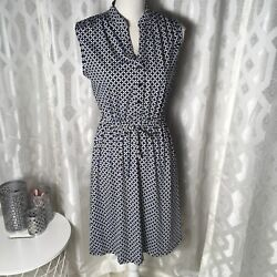 Robert Louis Women Blue White Small Sleeveless Drawstring Fit Flare Dress $22.45