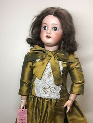 """25"""" Antique German S Star H Hoffmeister 1909 Ball Jointed Compo Silk Dress L"""