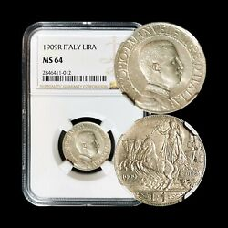 1909 Italy Lira Silver - Ngc Ms 64 Ch+ Unc - Top Pop 🥇