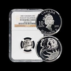 2001 Canada 10 Cents Silver - Ngc Pf70 Uc Perfect Top Pop 🥇 Volunteer Scarce