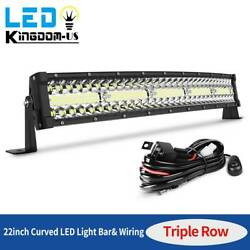 450w 22inch Led Work Light Bar+ Wiring Tri-row Combo Driving Ute Truck Suv 24''
