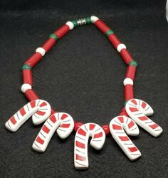 Vintage Flying Colors Candy Cane Ceramic Whimsical Winter Holiday Necklace