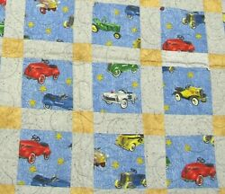 Handmade Crib Quilt Pedal Cars Tractors Trucks Signed Dated 2012 Baby Boy Girl