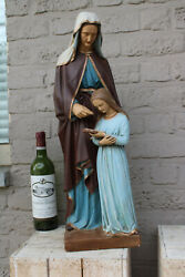 Xl French Antique Chalkware Saint Anne Anna Mary Mother Religious Statue Figurin
