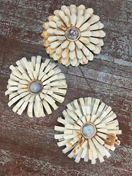 Wall Flowers Metal Art Shabby Cottage Chic Off White Rusty Primtv Vintage Set 3