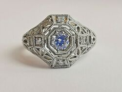 950 Platinum Diamond Ring Art Deco 2009 Reproduction Well Made Quality Feel
