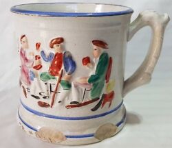 Large English Mug / Tankard With Quirky Frog To Well 19th Century