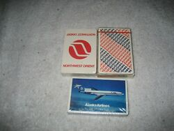 Vintage American Alaska Northwest Orient Airlines Playing Cards Lot 1970s