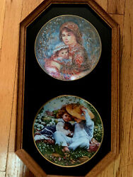 Beautiful Oakwood Frame W 2 Plates Molly And Annie Time To Love By Edna Hibel/