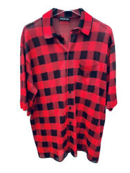 1390 Balenciaga Checked Red / Black Shirt Size Xs – Oversized – Up To M