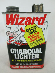 Vintage 1971 Wizard Charcoal Bbq Barbeque Grill Lighter Fluid Empty 1/2 Gal Can