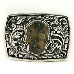 Belt Buckle Lee Downey Skull Motif Sterling Silver And Mammoth Bali Indonesia