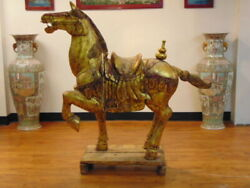 Antique 19th Century Tang Dynasty Wooden War Horse