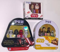 Pez Star Wars Rey, Han Solo And Kylo Ren And First Order Collectible Gift Tin Set