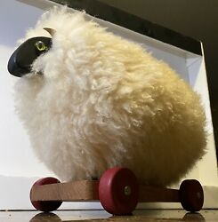 Antique Vintage Wool Lamb/sheep Toy On Wheels Asian Home Decor
