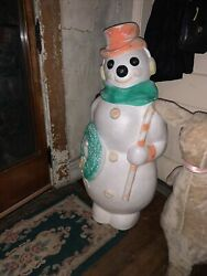 Vintage 45 Blowmold Snowman W Candy Cane And Wreath