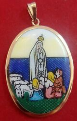 19k 800 Yellow Gold And Enamel Medal Our Lady Of FÁtima / From Portugal