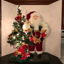 Large Santa By Antoinette Digregorio Light Up Tree With Teddy Bears And Gifts