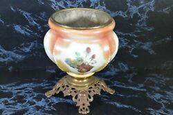 Antique Old Font Base Oil Kerosene Hand Painted Glass With A Cast Base