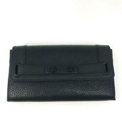 Coach Women#x27;s Swagger Wallet in Pebbled Leather Black 53028 New Authentic $108.00
